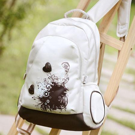 Leaves Printed With Loving School Bag Waterproof Strong Backpack - wikoco.com