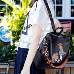 Romantic Embroidered Lover PU Multi-function College Shoulder Bag Backpack