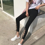 Black Front Cut Out High Slit Lace-up Ninth Girl's Skinny Legging