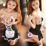 Sexy See Through Splicing Lace Maid Uniform Temptation Skirt Halter Cosplay Mesh Women's Lace Backless Lingerie
