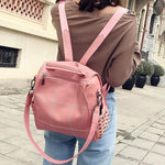 Vintage Square PU Large Soft Leather Rivet Multifunction Shoulder Bag School Backpack