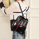 Punk Red Black Stripe Rivet Black Contrast Color PU Student Backpack
