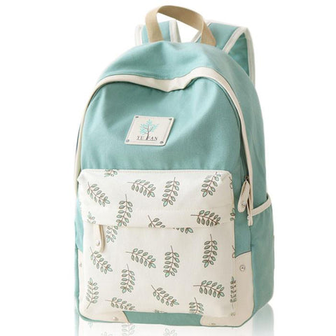 Fresh Leaf School Rucksack Leaves Printed Lady College Canvas Backpack - wikoco.com
