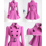 Cute Fall Winter Middle Style Double-breasted Standing Collar Pleated Skirt Slim Woolen Overcoat