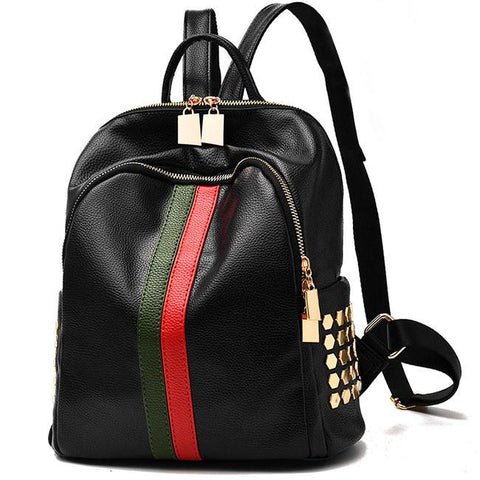 Unique Striped Bag Frosted Oxford Cloth Black PU Green Red Vertical Rivet Backpack