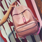 Leisure Pink Large PU School Girl's Chic Lichee Pattern Student Backpack