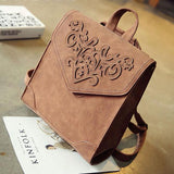 Retro British Student Bag 3D Carved Square School Backpack