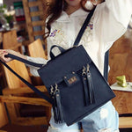 Retro PU Street Style Multifunction Frosted Tassels Flap Square Shoulder Bag Backpack