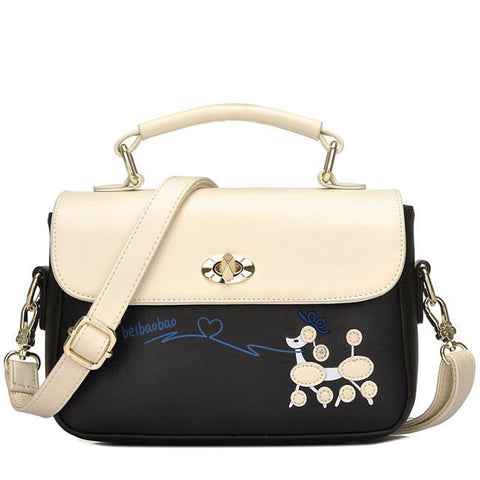 New Contrast Color  Puppy Cartoon Girl PU Shoulder Bag