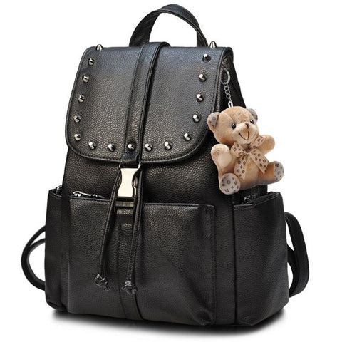 Black Punk Rivet School Rucksack Bear Doll PU Travel Backpack - wikoco.com