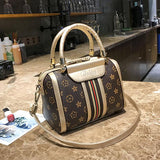 Unique Girl's PU Leather Handbag Multi-function Contrast Color Tote Shoulder Bag