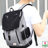 Leisure Boy's Canvas Large Capacity Flap School Student Rucksack USB Interface Travel Backpack