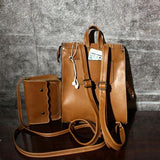 Retro Brown Frosted Flap Belt Square School Bag Lady College Backpack