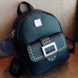 Retro Rivets Girl's PU Cartoon Metal Button School Backpack College Bag