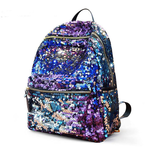 Fashion Shining Sequin Stars Backpack&School Bag-purple - wikoco.com