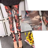 Unique Tissue Designed Doodle Cartoon Printing Mesh Lace Girl's Ninth Leggings