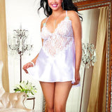 Sexy Women's V-neck See Through Lace Splicing Silk Backless Dress Slip Dress Underwear Baby Doll Sleepwear Lingerie