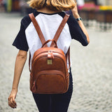 Retro Square Shape Rounded Edge Whole Colored Matte Girl's PU School Backpack