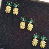 Cute Vivid Gemstones Pineapple Fruit Silver Earrings Studs