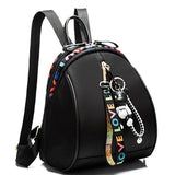 Fashion Pure Color Bear Decor Girls Black Oxford Backpack
