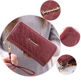 Cute Girl's PU Rose Embossed Phone Wallet Double-bagged Ziplock Purse Clutch Bag