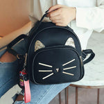 Cute Small Kitten Bag Cat Sequin Women's PU Mini Animal Backpack