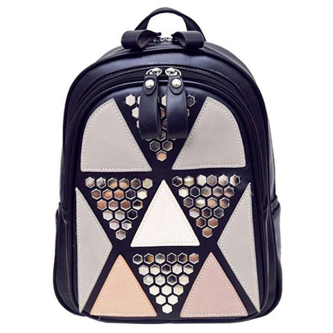 Unique Triangles Sequins Backpack Girl's PU Splicing Leisure Rivet School Backpack