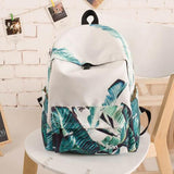 Fresh Green Banana Leaves Large Bag Capacity Canvas School Backpack