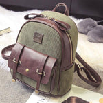Retro Splicing PU Pure Color School Bag Girl's Corduroy Student Backpack