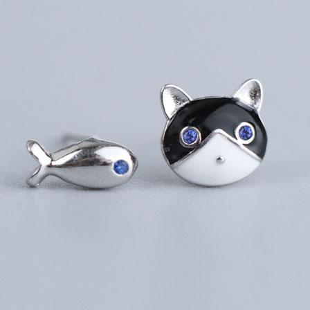 Lovely Cat Fish Oil-spot Glaze Silver Girl's Earring Studs Different Animal Earrings