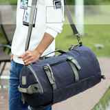 Unique Large Capacity Camping Sports Bucket Bag Drum USB Interface Canvas Waterproof Travel Backpack