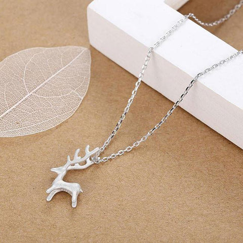 Fresh Silver Deer Animal Pendant Necklace