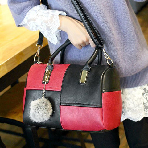 Double Color Grid Pillow Bag Wool Ball Shoulder Bag - wikoco.com