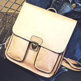 Cute Match Flap Two Pockets Outside  British Gloosy Square PU Metal Lock College Backpacks