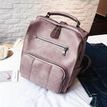 Retro Multifunction Handbag Pure Color Travel College PU Student Backpack