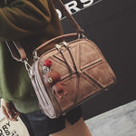Retro Lines Separated Geometric Pattern PU Women Handbag Leisure Double Zippers Shoulder Bag