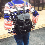 Retro Three Pockets PU Smooth Large School Backpacks