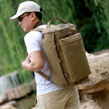 Retro Large Bucket Travel Outdoor Rucksack Multifunction Gym Shoulder Bag Canvas backpack Camping Backpack