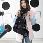 Simple Black PU School Travel Gift Clutch College Backpack