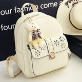 Cartoon Gift Bear Doll Pendant School Bag Girl's PU Hollow Flowers Rivet College Backpack
