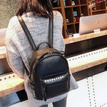 Leisure Leather Punk Rivet College Women's British Style Backpack