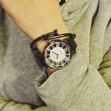 Fashion Roman Numerals Geometric Patterns Hollowed-out Designed Triangle Dial Quartz Watch