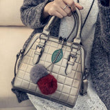 Women Quilted Messenger Bag Leaf Handbag Red Gray Hairball Shoulder Bag