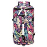 Unique Flower Leaves Multi-function Shoulder Bag Travel Large Backpack Drum Outdoor Canvas Rucksack