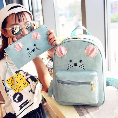 Cartoon Mouse Rucksack PU Schoolbag Animal Backpack Gift Clutch