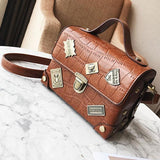 Retro Suitcase Crocodile Grain Metal Badges Flap Women PU Small Handbag Shoulder Bag
