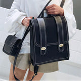 Retro Frosted Two Large Belts PU School Bag Square Student Backpack