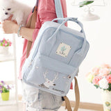 Fresh Deer Girl Rucksack College Multifunction Canvas Backpack - wikoco.com