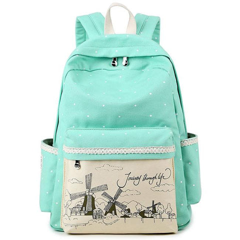 Sweet Lace Canvas Dot School Backpack Wave Point Printing Windmills Travel Rucksack