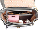 Fashion Chain Circular Ring Flap Square Splicing Frosted PU Metallic Backpack